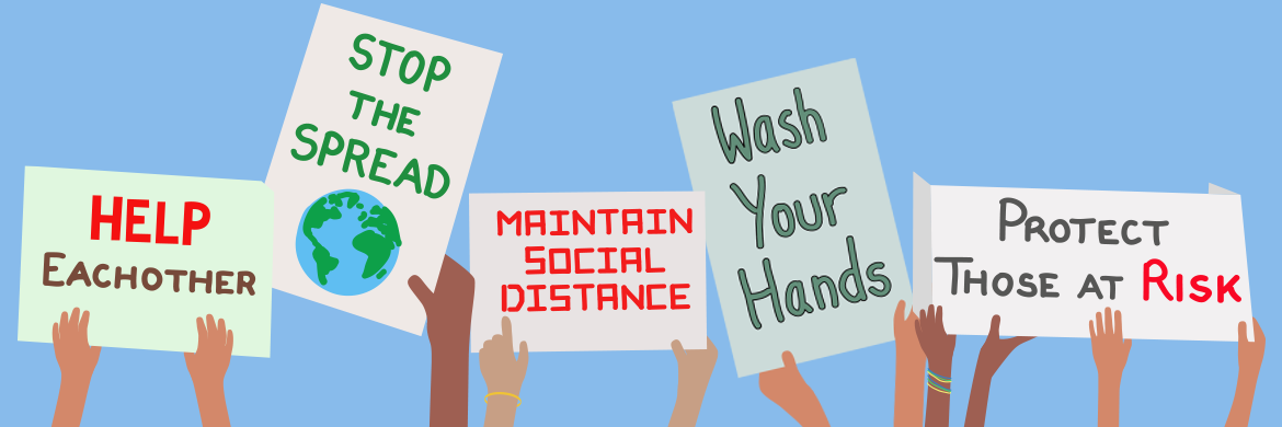 "Teen COVID banner showing hands holding up various signs; ""Help Each Other"" ""Wash Your Hands"" ""Protect those are risk"" ""Maintain Social Distance"" ""Stop the Spread"""