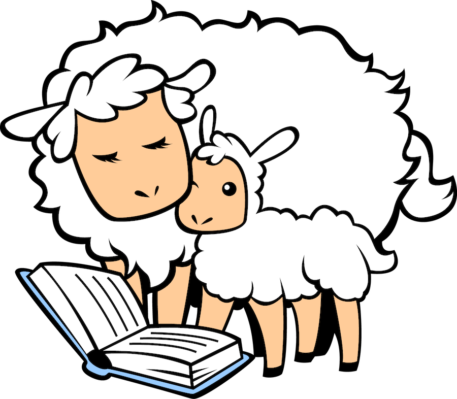 sheep and lamb reading a book